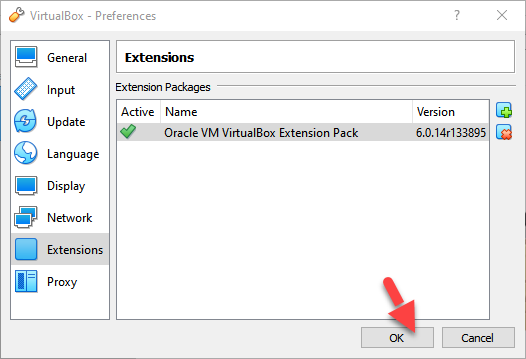 Virtualbox Extension Pack has benn Installed